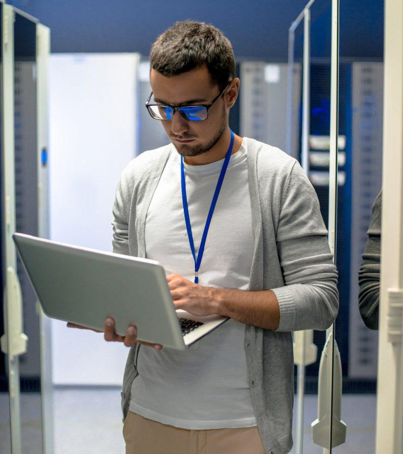 Engineer Managing Supercomputer Network